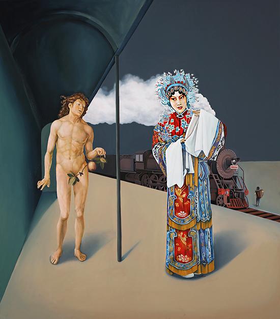 〈孤独症与自恋症 | Autismus und Narzissmus, 2013〉 萧瑟 Se XIAO, 布面油画 Öl auf Leinwand, 205x108cm