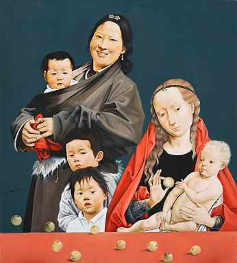 〈母子 | Mutter und Sohn, 2014〉 萧瑟 Se XIAO, 布面油画 Öl auf Leinwand, 100x90cm