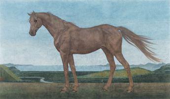 〈田园骏马 | Pferd auf dem Feld, 2015〉 魏为 Wei WEI, 纸本国画 Tuschmalerei, 54x91cm