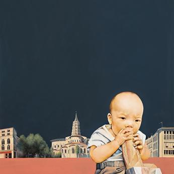 〈在图卢兹的亚瑟 | Arthur in Toulouse, 2014〉 萧瑟 Se XIAO, 布面油画 Öl auf Leinwand, 100x90cm