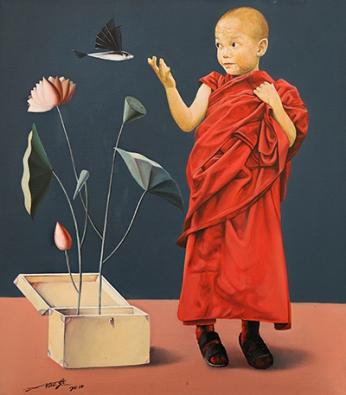 〈心灵的沟通 | Gespräch im Herz, 2014〉 萧瑟 Se XIAO, 布面油画 Öl auf Leinwand, 60x53cm