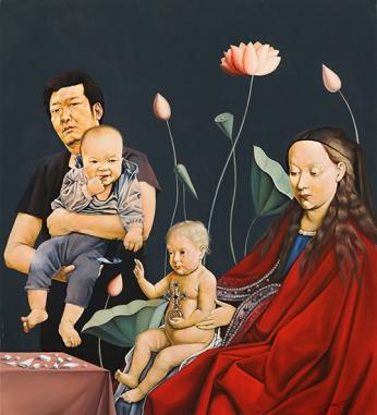 〈父子与母子 | Vater-Sohn und Maria-Jesusknabe, 2014〉 萧瑟 Se XIAO, 布面油画 Öl auf Leinwand, 100x90cm
