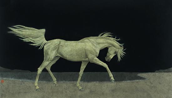 〈虚空中的白马 | Weißes Pferd am leeren Himmel, 2015〉 魏为 Wei WEI, 纸本国画 Tuschmalerei, 55x97cm