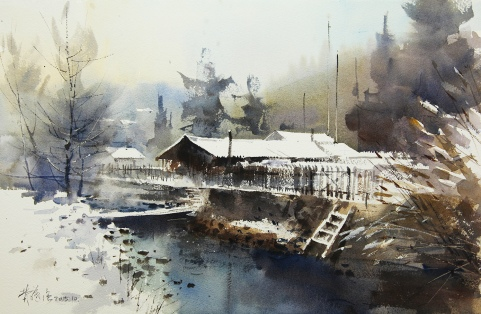 〈长白山初雪 | Der erste Schneefall im Changbai-Berg, 2013〉 费曦强 Xiqiang FEI, 纸本水彩 Aquarell auf Papier, 55x36cm