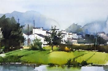 〈婺源 | Landschaft in Wuyuan, 2011〉 费曦强 Xiqiang FEI, 纸本水彩 Aquarell auf Papier, 55x36cm