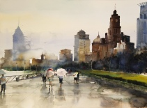 〈上海外滩雨景 | Der Bund, 2011〉 费曦强 Xiqiang FEI, 纸本水彩 Aquarell auf Papier, 73x54cm