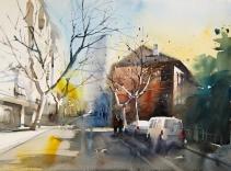 〈上海南昌路街景 | Die Nanchang-Straße in Shanghai, 2012〉 费曦强 Xiqiang FEI, 纸本水彩 Aquarell auf Papier, 73x54cm