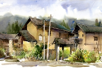 〈南靖云水谣土楼 | Tulou, 2010〉 费曦强 Xiqiang FEI, 纸本水彩 Aquarell auf Papier, 54x36cm
