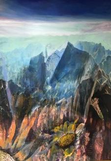 〈👔, 2017〉 蓝镜 Jiny LAN, 布面复合媒材 Mixed Media auf Leinwand, 140 x 200 cm