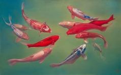 〈 錦鯉 10|KOI 10 〉 李振亞 Zhenya LI, 布面油画 Öl auf Leinwand, 2016, 160 x 100 (cm)
