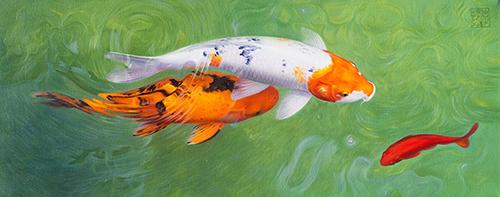 〈 錦鯉 12|KOI 12 〉 李振亞 Zhenya LI, 布面油画 Öl auf Leinwand, 2016, 40 x 100 (cm)